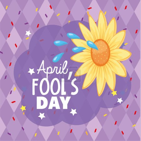 Illustration for Funny flower with water to fools day vector illustration - Royalty Free Image