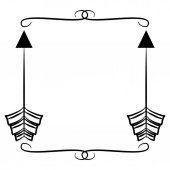 square frame with indian arrows boho style