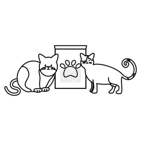 Cute cats mascots with paper bag food vector illus...