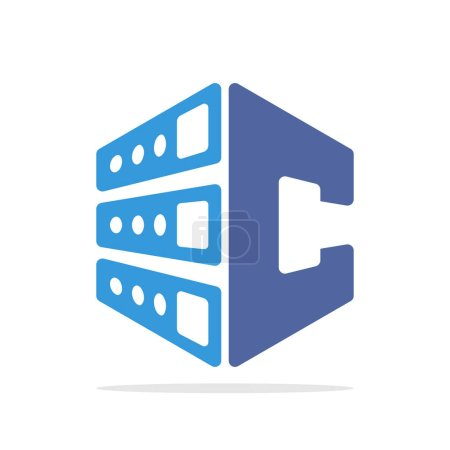 Initial logo icon for web hosting business with initial details of letter C
