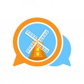 Vector illustration icon with the concept of communication media that shares information about Dutch tourist spots