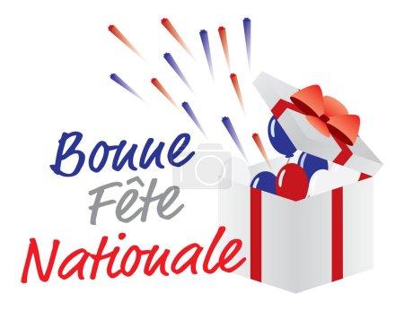 Illustration pour Ballons rouges, bleus et blancs et feux d'artifice, et bonne journée nationale saluant - image libre de droit