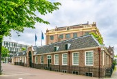 Amsterdam May 18 2018 - Entrance of the Portuguese Synagogue located at the Meester Visser plein  in the old Jewish quarter of Amsterdam