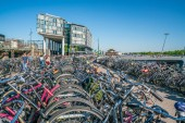 Amsterdam, May 7 2018 - locals looking for their bikes next to the Central train station in Amsterdam