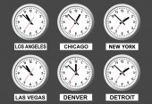 A board that shows the time in different cities of the world