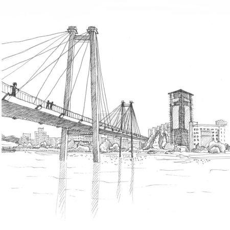 Cable bridge black and white