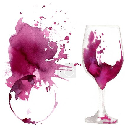 Photo for Wine glass painted with watercolors on white background. Study of a wine glass. Red wine. Abstract marks and stains on the glass. Marsala color - Royalty Free Image