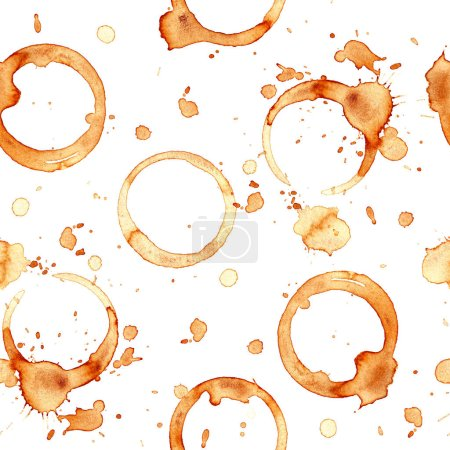 Pattern coffee cup. Splashes and traces of coffee cup. Circles and rings on white background.