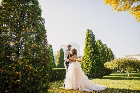 Photo pour Arche de mariage des jeunes mariés dans le parc - image libre de droit