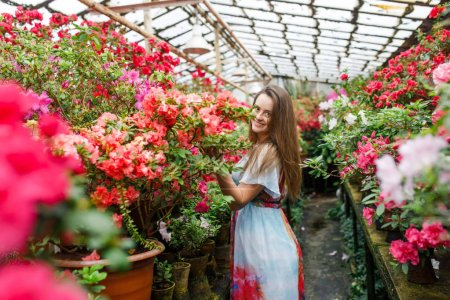 Photo for Beautiful girl in a flower shop - Royalty Free Image