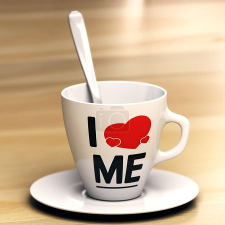 Photo for Mug with the phrase i love me on wooden table. Concept of egocentric or self-centredness person. 3D illustration. - Royalty Free Image
