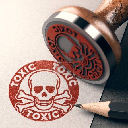Photo pour Illustration 3D d'un tampon caoutchouc avec crâne, os et le texte toxique estampillé sur fond de papier - image libre de droit