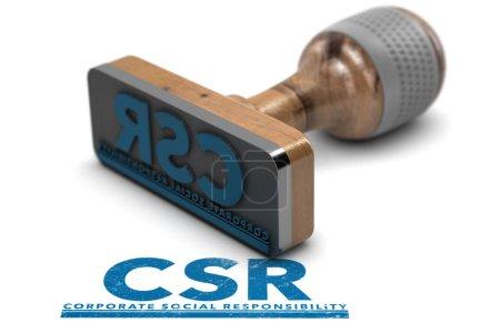 Photo pour 3D illustration du timbre en caoutchouc avec l'avec le sigle Csr, Corporate Social Responsibility estampillé sur fond blanc. - image libre de droit