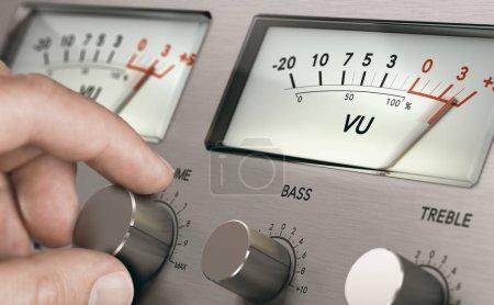 Photo pour Homme tournant bouton de volume d'un amplificateur analogique vintage pour augmenter le volume sonore. Image composite entre une photographie à la main et un fond 3D . - image libre de droit