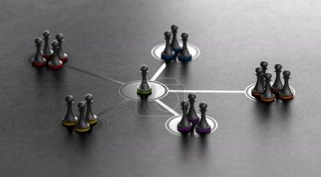 Foto de Grupos organizados a cargo de un líder. 3D ilustración de los peones con diferentes colores sobre fondo negro. - Imagen libre de derechos
