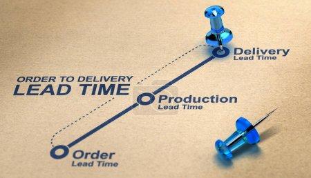 Photo pour Ordre de livraison diagramme de délai de livraison sur fond de papier avec des punaises bleues. Concept de gestion de la chaîne d'approvisionnement. Illustration 3D . - image libre de droit