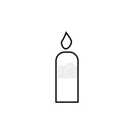 Illustration pour Lumière de bougie avec icône de ligne de flamme pour anniversaire, religion, logo d'utilisation commémorative sur fond blanc - image libre de droit