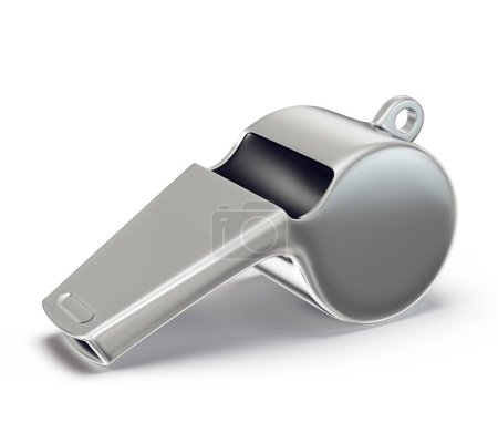 chrome whistle isolated on a white. 3d illustration