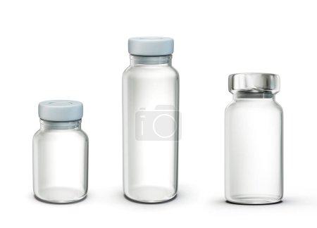 Photo pour Ampoule en verre isolée sur un blanc. Illustration 3d - image libre de droit