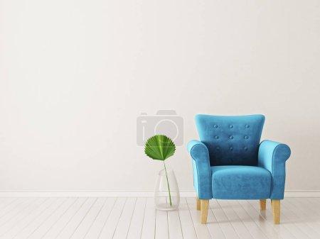 modern living room  with blue armchair. scandinavian interior design furniture. 3d render illustration