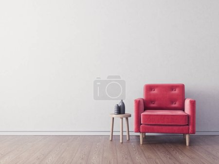 modern living room  with red armchair. scandinavian interior design furniture. 3d render illustration
