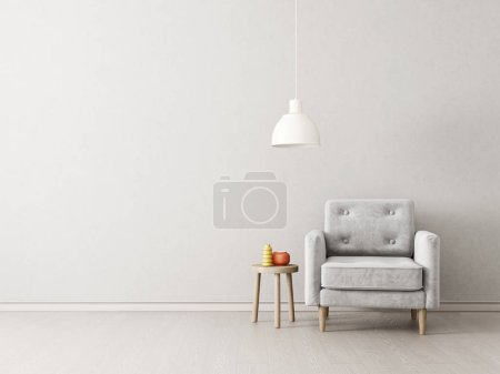 Photo for Modern living room  with armchair and lamp. scandinavian interior design furniture. 3d render illustration - Royalty Free Image