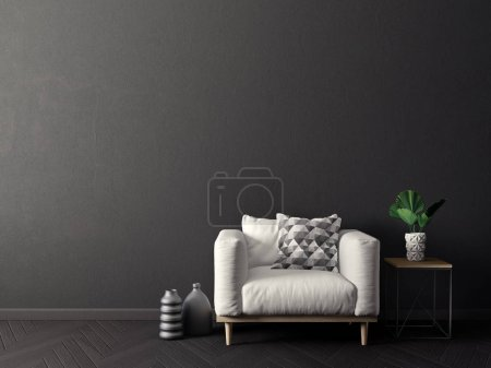 Photo for Modern living room  with armchair. scandinavian interior design furniture. 3d render illustration - Royalty Free Image