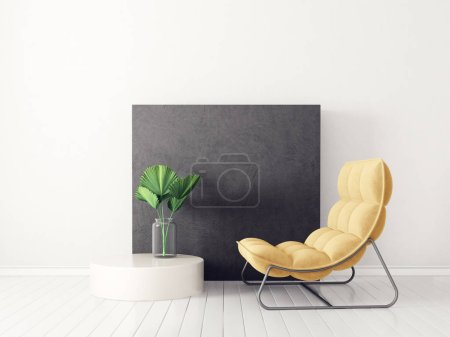 Photo for Modern living room  with yellow armchair. scandinavian interior design furniture. 3d render illustration - Royalty Free Image