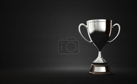 silver winner cup on dark background