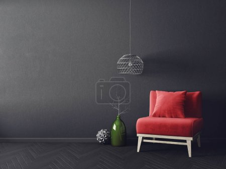 Photo for Modern living room with red armchair and lamp - Royalty Free Image