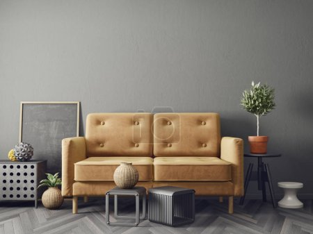 Photo for Modern living room with brown sofa plants in pots and decorations - Royalty Free Image