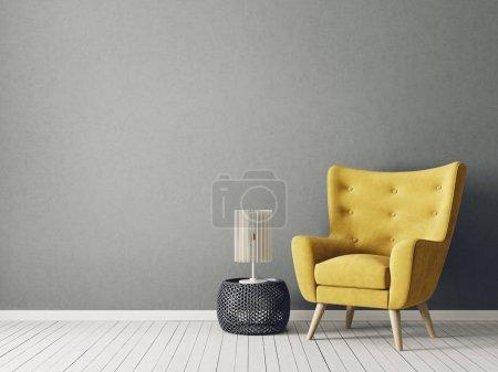 Foto de Moderno salón con sillón amarillo y lámpara de - Imagen libre de derechos