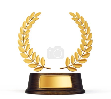 golden laurels award isolated on white background