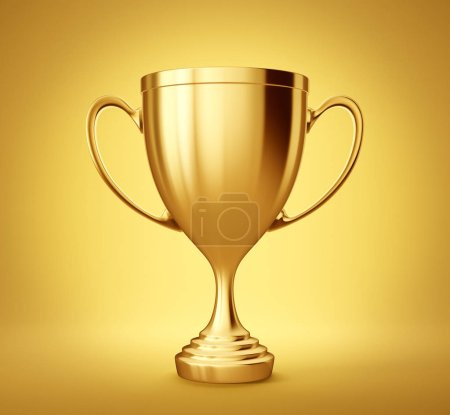 golden winner cup on yellow background