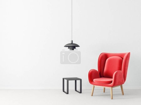 Photo for Modern living room with red armchair and lamp, scandinavian interior design furniture - Royalty Free Image