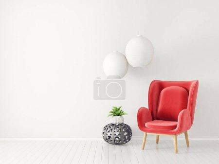 Foto de Moderno salón con sillón rojo y lámpara, muebles diseño interior escandinavo - Imagen libre de derechos
