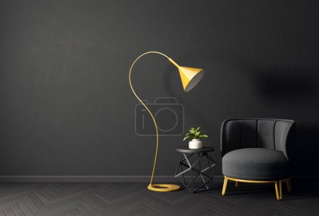 Photo for Modern black living room with black armchair, table and long yellow lamp - Royalty Free Image