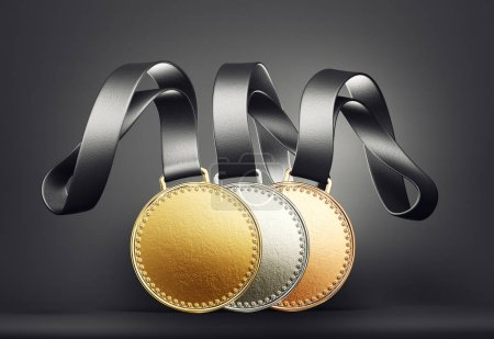 Gold, silver and bronze medals on black background.