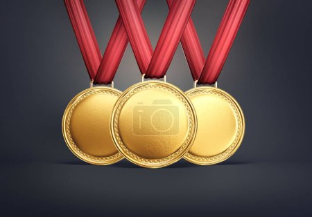 Three gold medals on black background