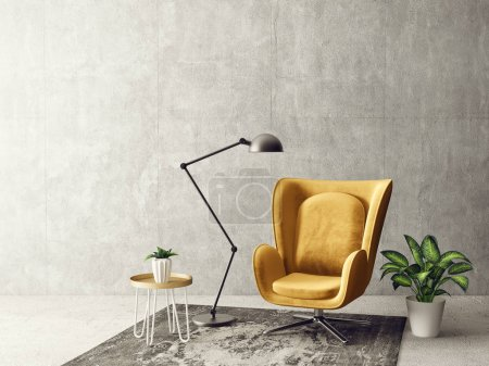 modern living room with yellow armchair, table, big lamp, vase and grey shabby wall