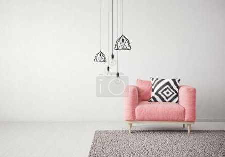 Photo for Modern living room  with red armchair and lamp. scandinavian interior design furniture. 3d render illustration - Royalty Free Image