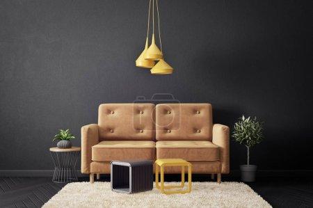 Foto de Moderna sala de estar con sofá y pared negra. muebles escandinavos de diseño de interiores. ilustración de renderizado 3d - Imagen libre de derechos