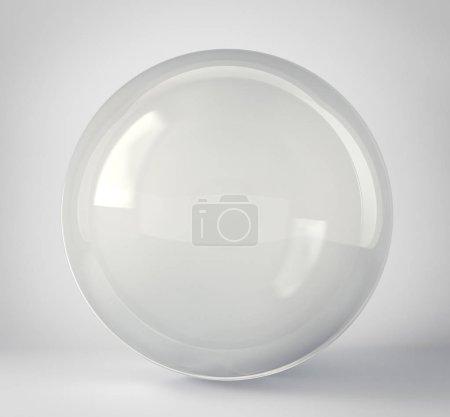 Glaskugel isoliert auf einem grauen. 3D-Illustration