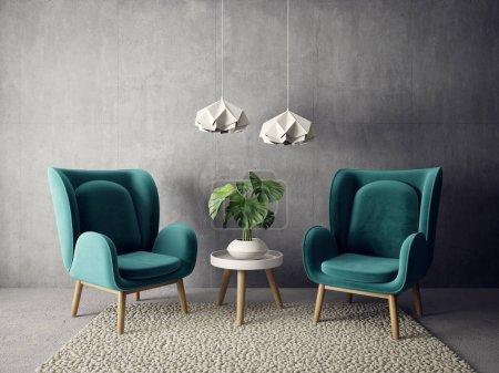 Photo pour Salon moderne avec fauteuil et lampe. mobilier design intérieur scandinave. Illustration de rendu 3D - image libre de droit