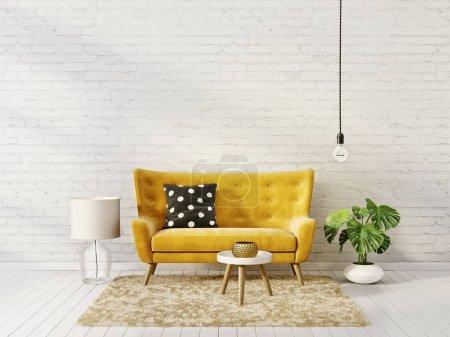 Photo pour Salon moderne avec canapé jaune et une lampe. meubles design intérieur scandinave. illustration de rendu 3D - image libre de droit