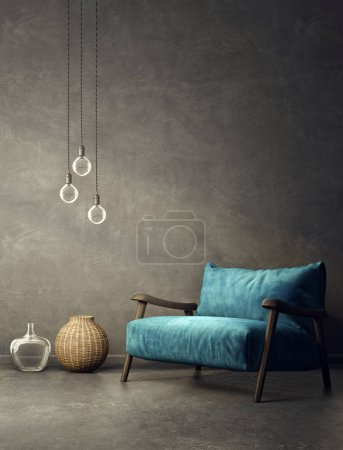 Photo for Modern living room  with blue armchair and lamps. scandinavian interior design furniture. 3d render illustration - Royalty Free Image