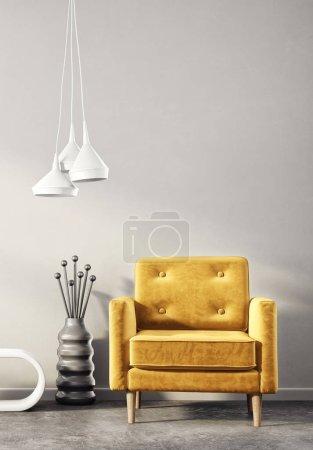 Photo pour Salon moderne avec fauteuil jaune et lampe. mobilier design intérieur scandinave. Illustration de rendu 3D - image libre de droit