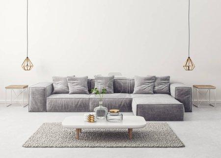 Photo pour Salon moderne avec canapé gris et lampe. mobilier design intérieur scandinave. Illustration de rendu 3D - image libre de droit