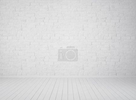Photo pour Chambre blanche vide avec mur de briques. Illustration 3d - image libre de droit