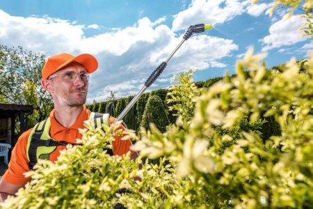 Foto de Jardinero rociando árboles usando pesticidas. Luchando con insectos. Caucásico hombres en su 30s . - Imagen libre de derechos